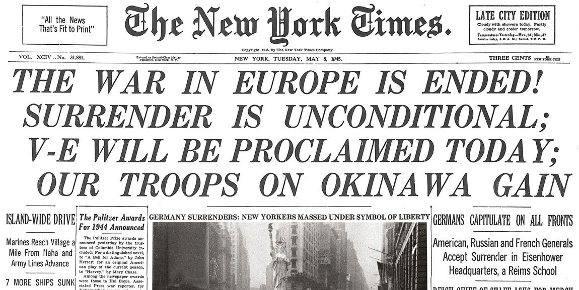 Nyt Archives On Twitter The War In Europe Is Ended V E Day Is
