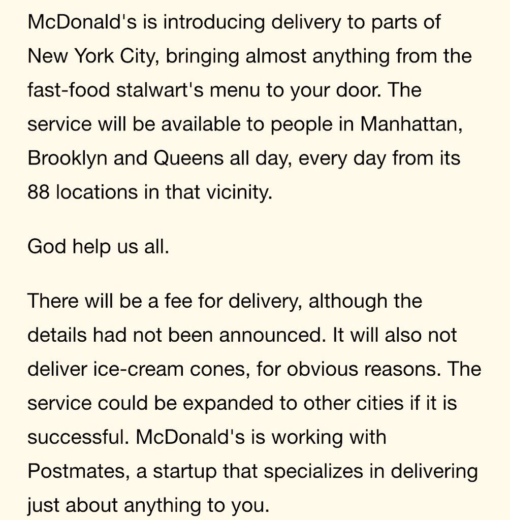 McDonald's offers delivery in New York for first time http://t.co/s5OwNzLrEj http://t.co/fFIPxG8g9K