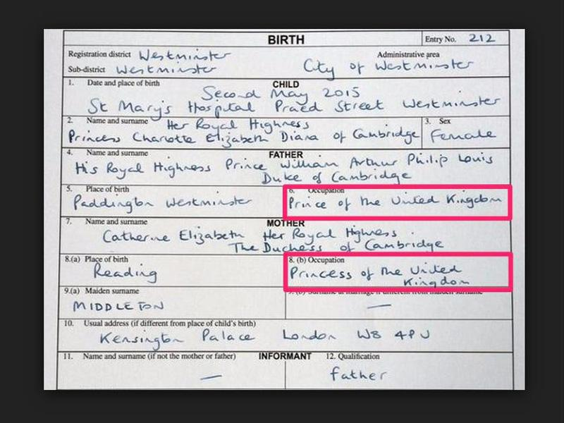 1 News Kates Occupation On Princesscharlottes Birth