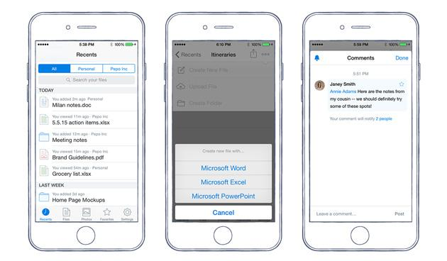 Dropbox for iOS will create Microsoft Office files from scratch