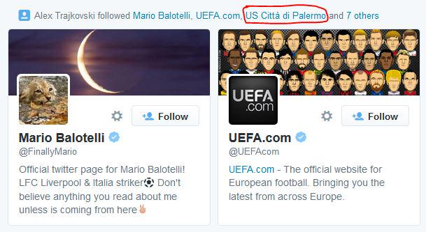 Trajkovski recently started following Palermo