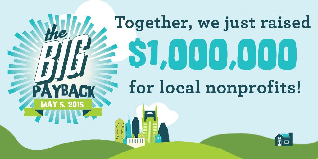 Together we just raised $1MILLION #bigpayback http://t.co/0JRKwpstSt