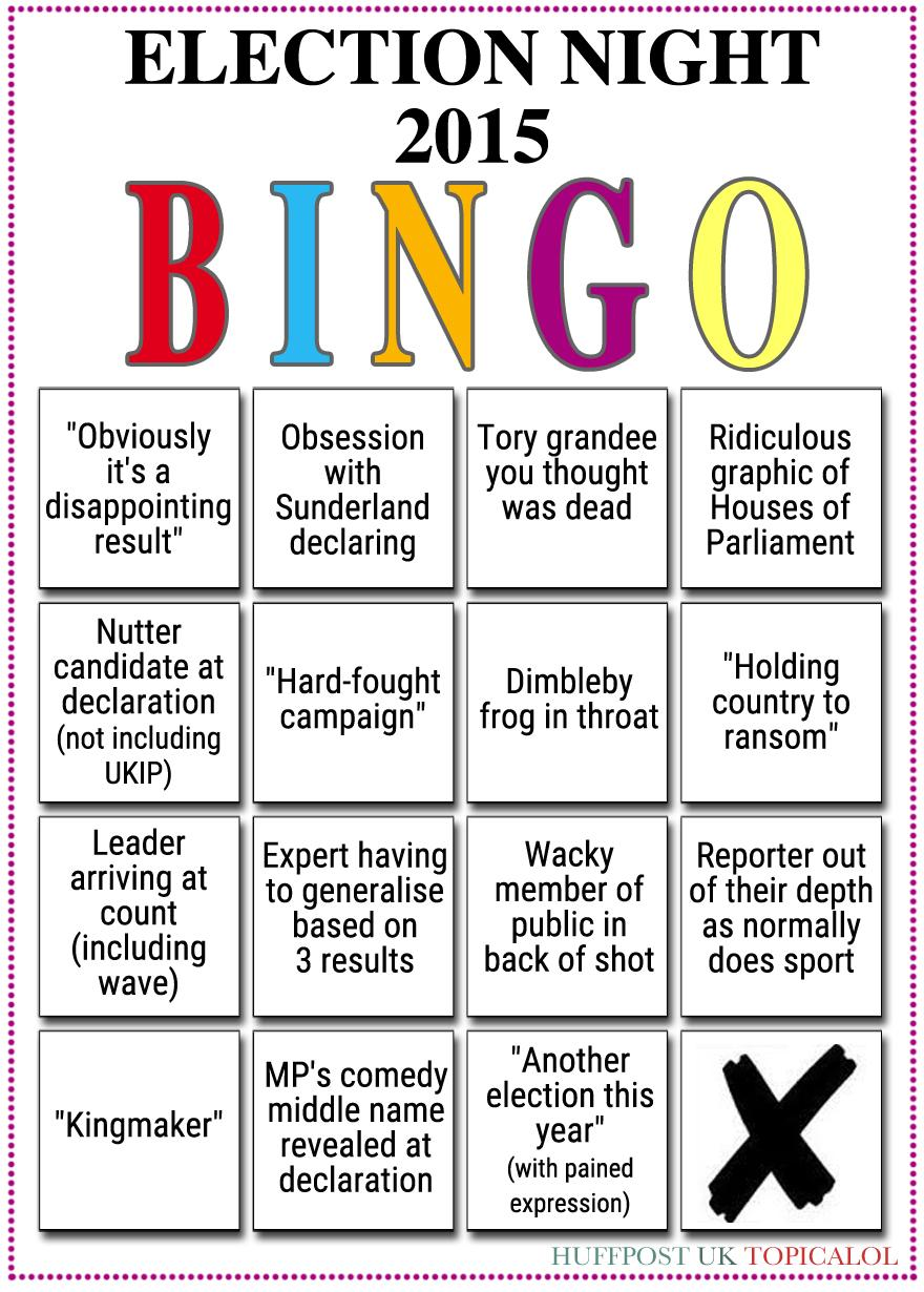 A reminder of your election night bingo card. (done for @huffpostukcom) http://t.co/rNj5kyhYhm http://t.co/lNFWKRFFk8 http://t.co/yf3hcbzXg8