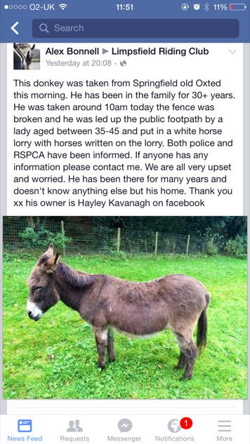 My neighbours pet donkey Oliver was stolen on bank holiday Monday. Do you know where he might be? Please RT http://t.co/5XOwoPEsKY