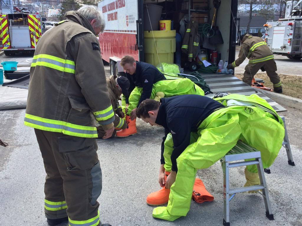 Hazardous Materials Unit from Corner Brook Fire Dept. suiting up to remove suspicious envelope from courthouse. http://t.co/qJwbwfpQx9
