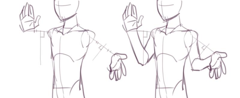ずっと前に引用した引用元のHow to drawが消えちゃったから自分で描いたんだけど、この肩から手首までを線でつないで、それの直角に引いた線の上にひじが来るみたいなのめっちゃすげーってなったから言いふらしたくて。