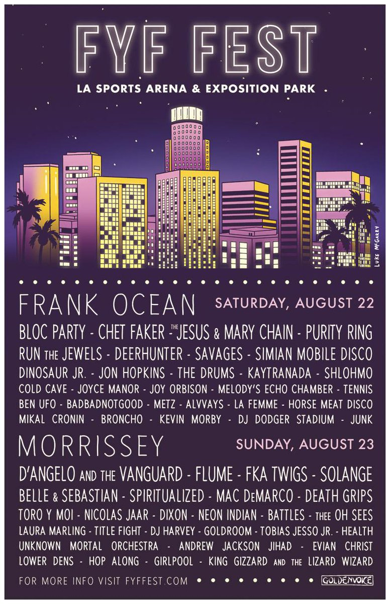 FYF Fest 2015 lineup announced: Frank Ocean, Morrissey, D'Angelo & more http://t.co/DI6Yv2hezf http://t.co/RF5oYbazx7