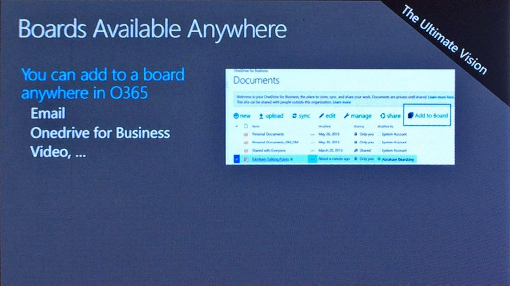 Boards rolled out to all tenants in next few weeks. Add to board button will be in doc library toolbar. #MSIgnite http://t.co/WSzeuh9y6a