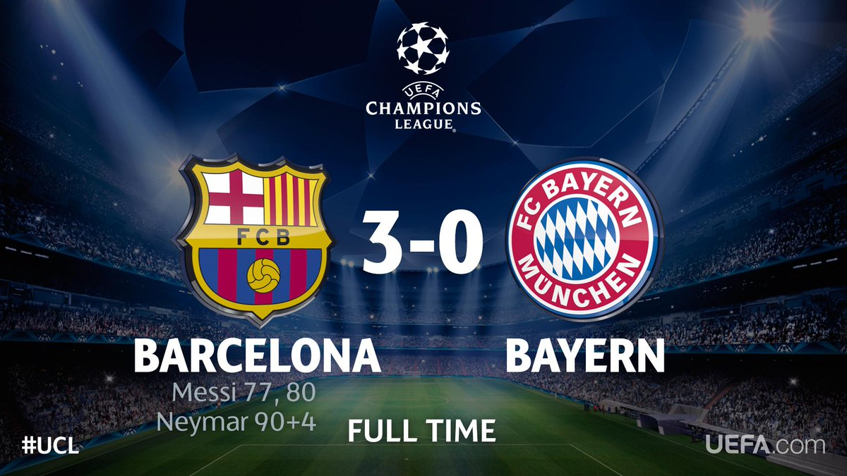 Final score: Barcelona 3-0 Bayern All the match reaction here: http: