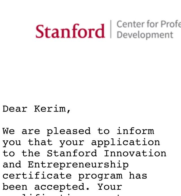 Kerim Omer Caglar On Twitter Got Accepted To Stanford Innovation