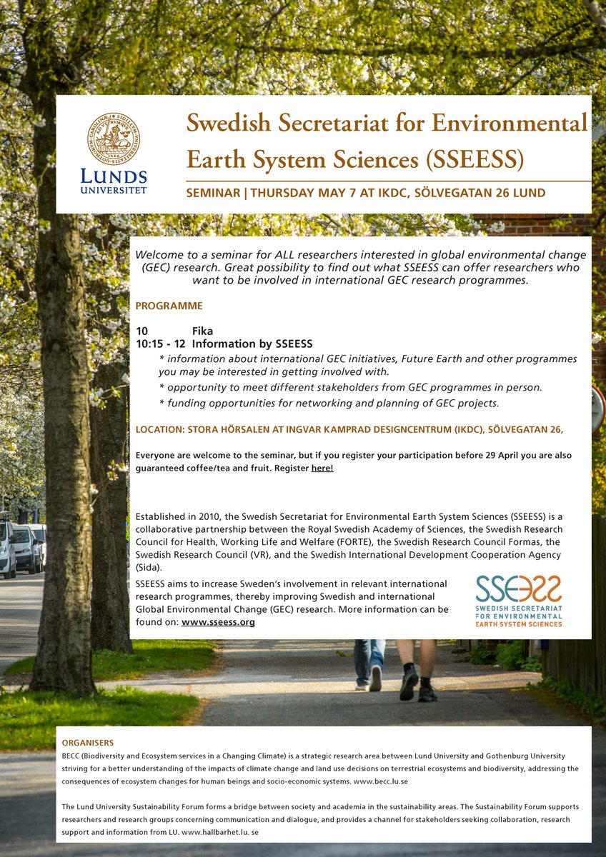 Thumbnail for Swedish Secretariat for Environmental Earth System Science (SSEESS) Workshop