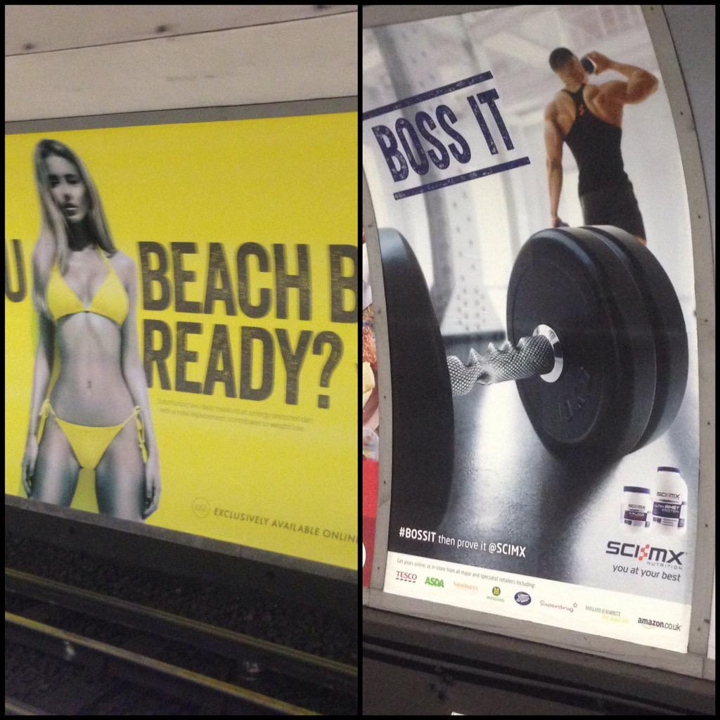 Same product different message. Now imagine protein world went for the message on the right but with a woman? #nailed http://t.co/adFXarVV5Z