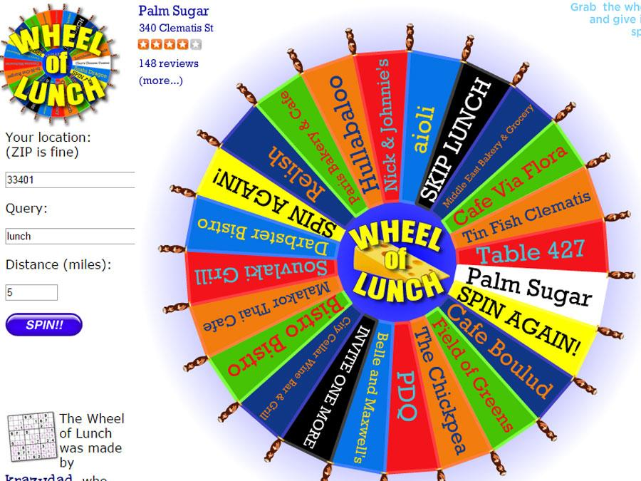 where should i eat spin the wheel of lunch