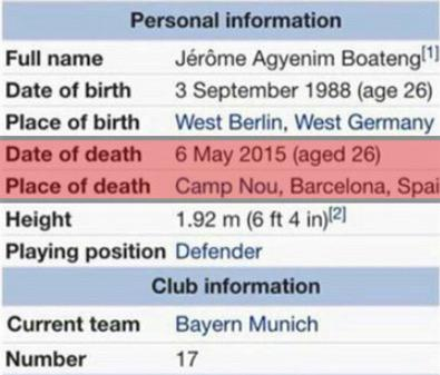 Jerome Boateng might want to avoid Wikipedia today http://t.co/B39KL0Xx5t