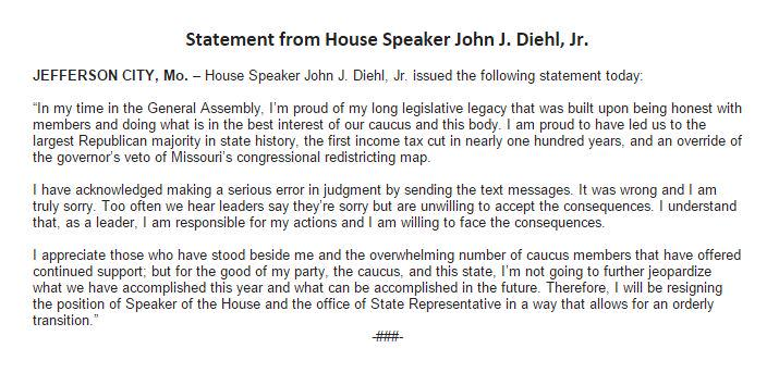 Missouri House Speaker John Diehl Resigns Over Intern Texts Todd