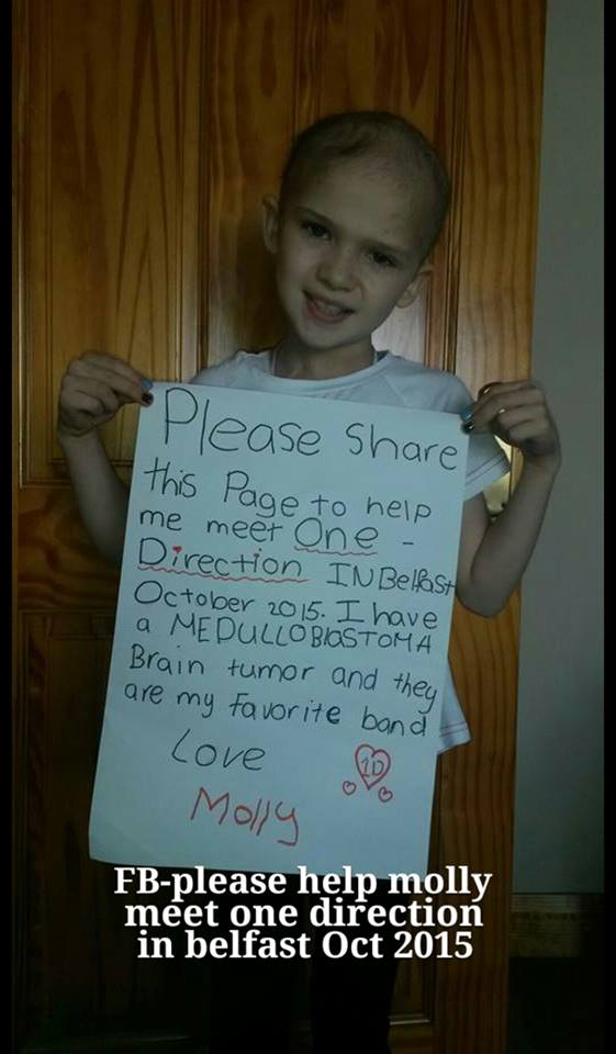 Help a little girl with a brain-tumour meet @onedirection  Please share pic & hopefully someone sees it. #MollyTaylor http://t.co/hkOWwYxIWF