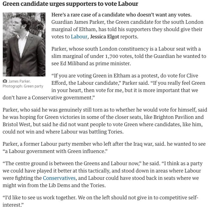 The Green candidate for Eltham is telling supporters to vote Labour instead  http://t.co/Mz6AI7komG #GE2015 http://t.co/xebfcMEKbm