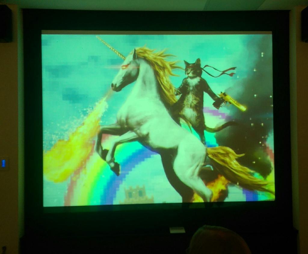 Unicorns do exist says @shmerv   As hoped, the #jboye15 design track is full of great slides. http://t.co/rCaRNj8d8H