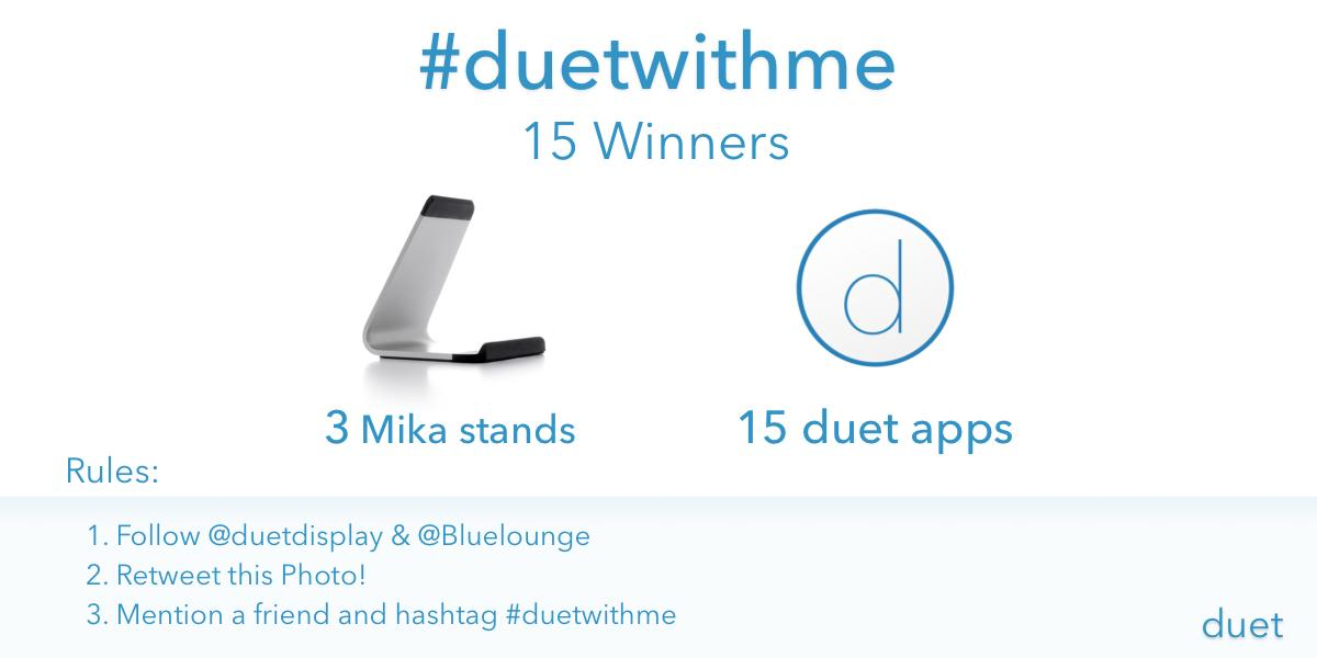 Let's Duet! Enter to win our #duetwithme giveaway. Our Mika and Duet make the perfect pair. http://t.co/6LyPod6lUn