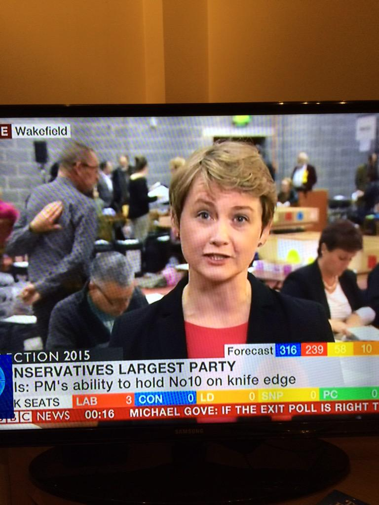 BREAKING: Yvette Cooper tries to explain why there's a man with his head on backwards behind her. http://t.co/a5XsSVY78b