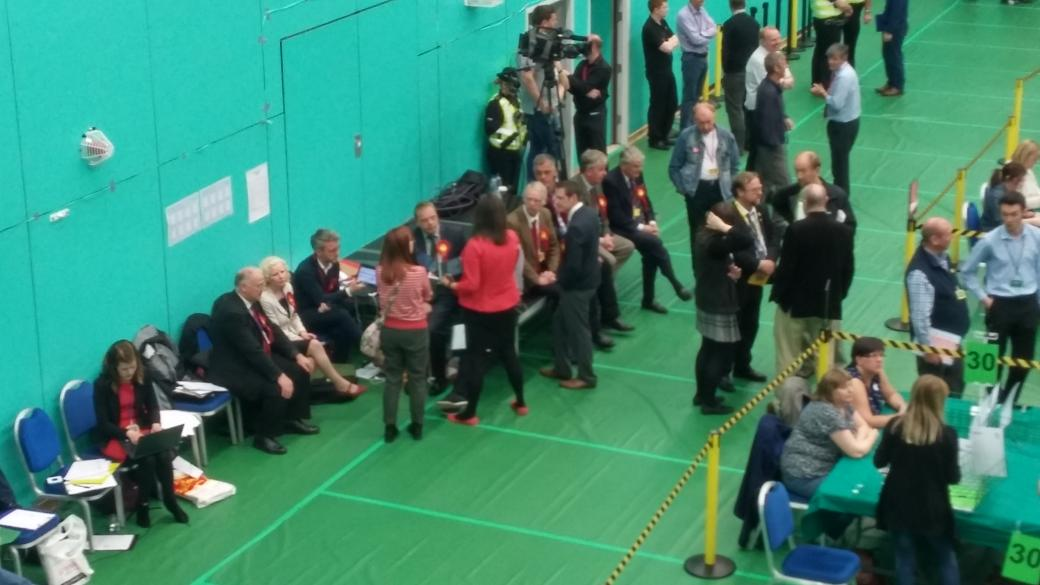 Word is it's an SNP landslide at all 3 Glenrothes seats. This is the Labour people looking glum. Incredible story. http://t.co/rPwzFfSnky