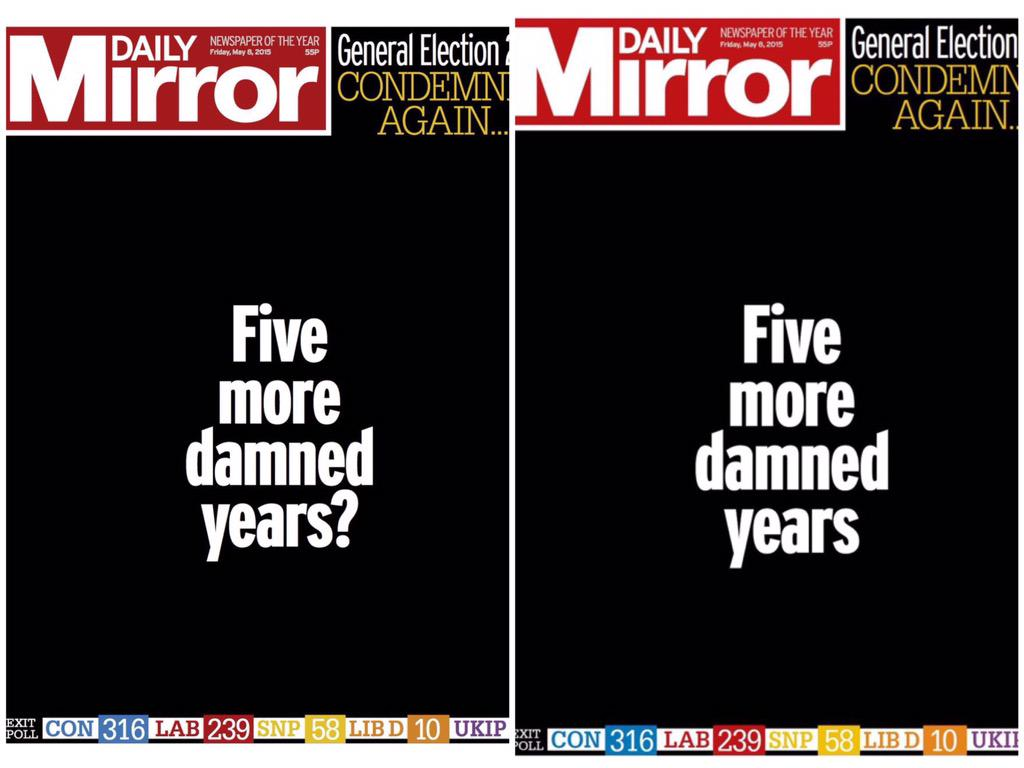 How the Daily Mirror has changed its front page since 22:30 #tomorrowspaperstoday #GE2015 http://t.co/yFln0dM0Se