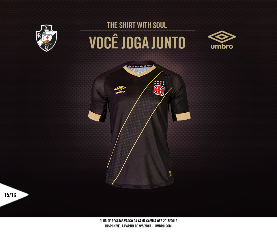 ba1b769bc8327 Black magic - the new 3rd kit for Brazil's  crvascodagama is a black and  gold
