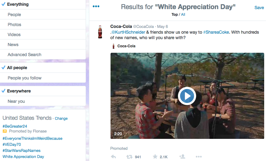 "I strongly doubt @CocaCola meant to buy an ad for ""White Appreciation Day,"" but it did. #badbids http://t.co/3OCJUub0j8"