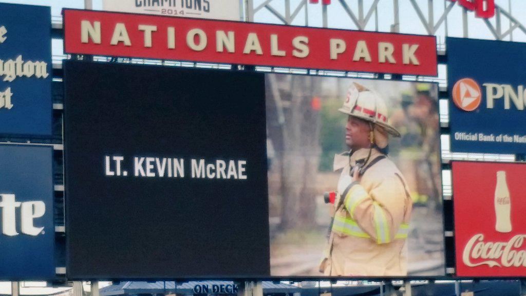 Thank you to the @Nationals for honoring our fallen brother, Lt. Kevin McRae, you will never be forgotten! http://t.co/QnA81OVlip