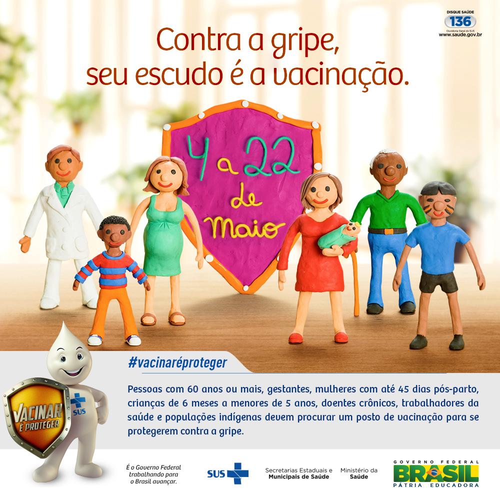 Contra a gripe seu escudo é a vacinação. De 4 a 22 de maio, vá até um posto de vacinação e proteja-se. #VacinaGripe