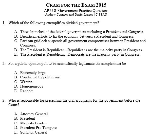 ap gov essay questions