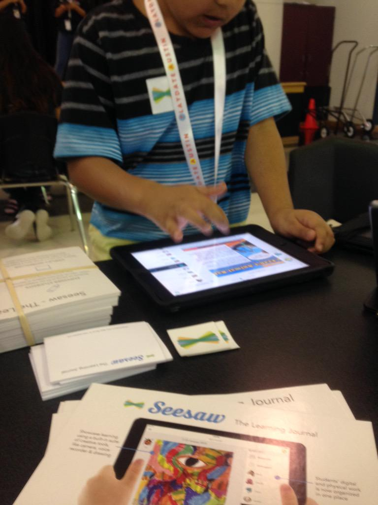 I'm learning about seesaw.me from @ManorElementary students #Playdate15 #ManorISD http://t.co/oqm48fH3WT