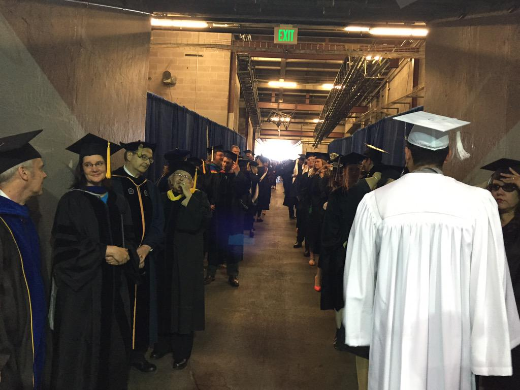 In the tunnel getting set to head into the Pan Am. #NMSUGrad http://t.co/zXcWFf2dK7