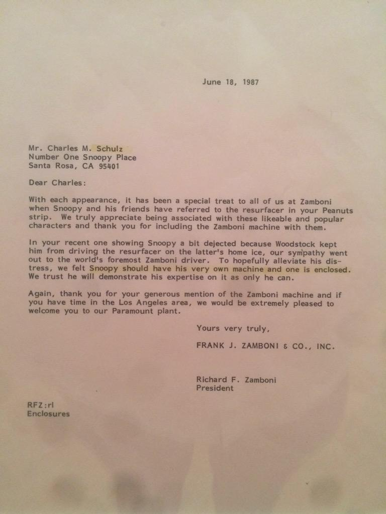 An unexpected IP treat at the Schultz museum: trademark enforcement letters from Zamboni®. http://t.co/Z88HjyQqyL