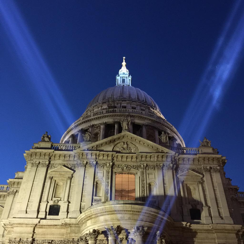 humbling to see the searchlights at @StPaulsLondon tonight #VEDay70 http://t.co/5X8KqDBRiZ