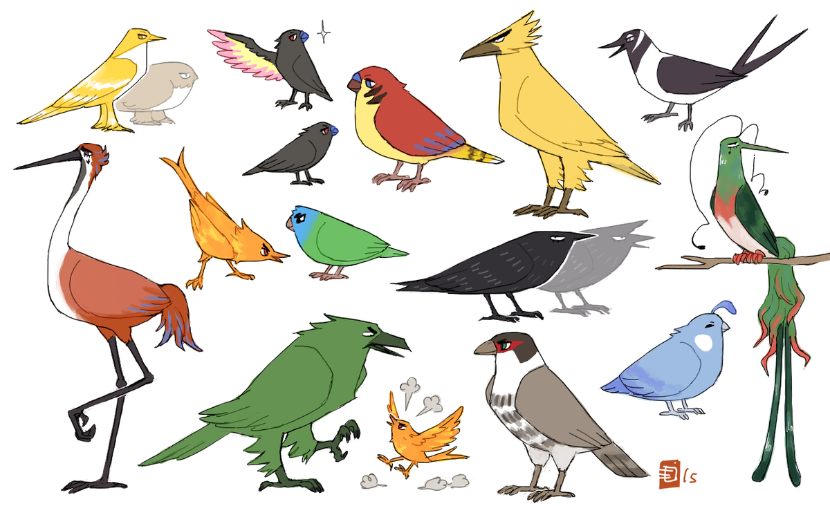some birbs (not really 100% to scale)