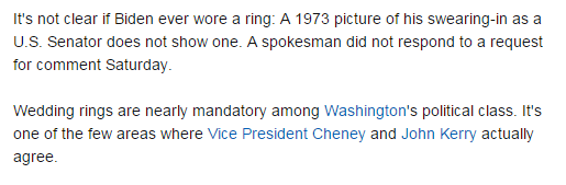 maurice on Twitter TIL Joe Biden has never worn a wedding ring