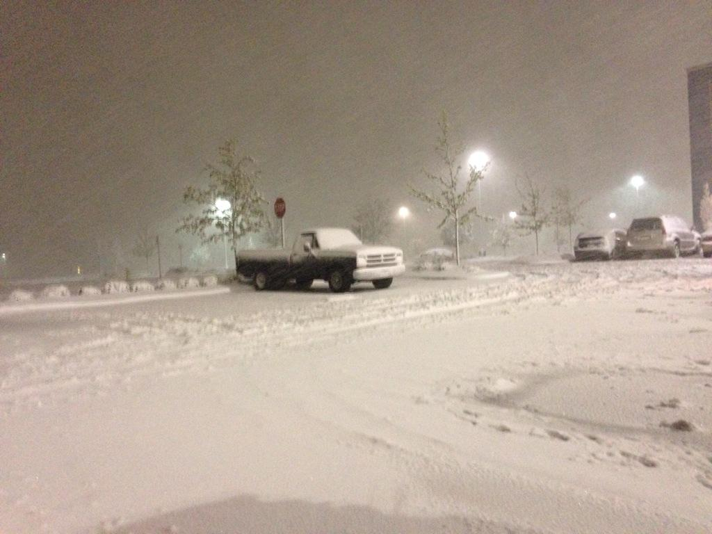 @genregurl Denver, Colorado. Snow continues to fall with heavy winds. Gym parking lot right now.... http://t.co/g93hCunwjU