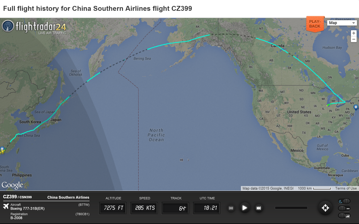 China Southern Airlines Cz399 From Guangzhou To New York
