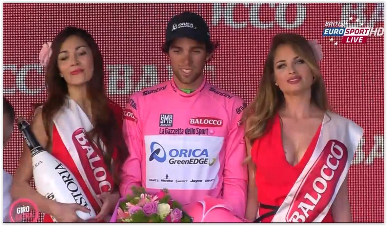 FOTO premiazione maglia rosa Michael Matthews al Giro d'Italia 2015