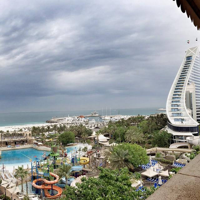Great view from Tantrum Alley and Burj Surj tower! Doesn't this #weather reminds you of the winter? #mydubai http://t.co/x6kme2ca7D