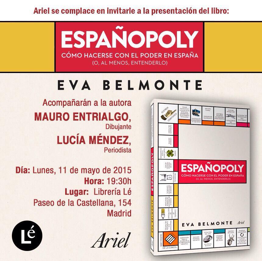 """Hoy a las 19.30 en Madrid, presentación de """"Españopoly"""" de @evabelmonte en Madrid. Venirsus. http://t.co/LYI4uPkf9g"""