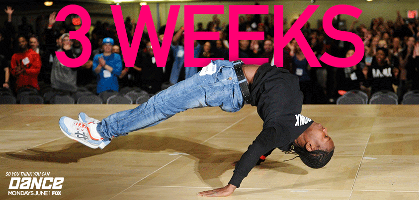 2wks/4 days now. But who's counting? xoP RT @DANCEonFOX: 3WEEKS till 2hr Premiere of #sytycd! JUN1 @ 8/7c on @FOXTV! http://t.co/zzf6xWOTby