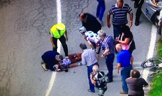 Tremenda caduta di Pozzovivo al Giro d'Italia