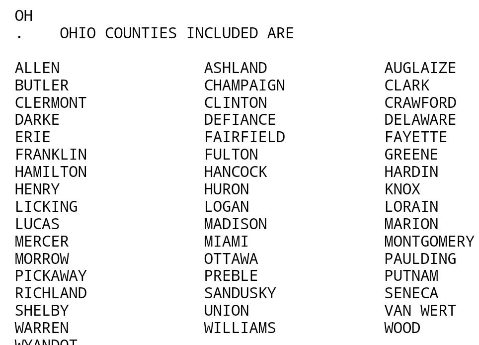 "greg dee on twitter: ""text list of ohio counties under tornado watch"