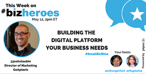 What's your digital approach? Excited to talk building the #digitalplatform your biz needs on #BizHeroes tomorrow. http://t.co/daOB3thynw
