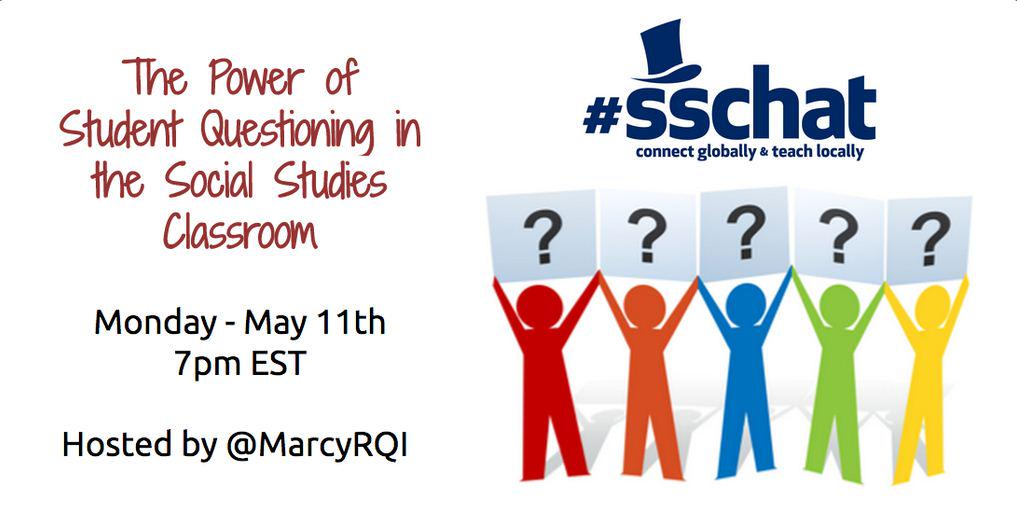 Join #sschat tonight 7pm ET to discuss the Power of Student Questioning w/ @MarcyRQI of the Right Question Institute. http://t.co/1AI7LL5Nx6