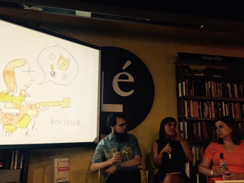Lucía Méndez, Mauro Entrialgo y Eva Belmonte hablando de Españopoly http://t.co/N3rmapufc8