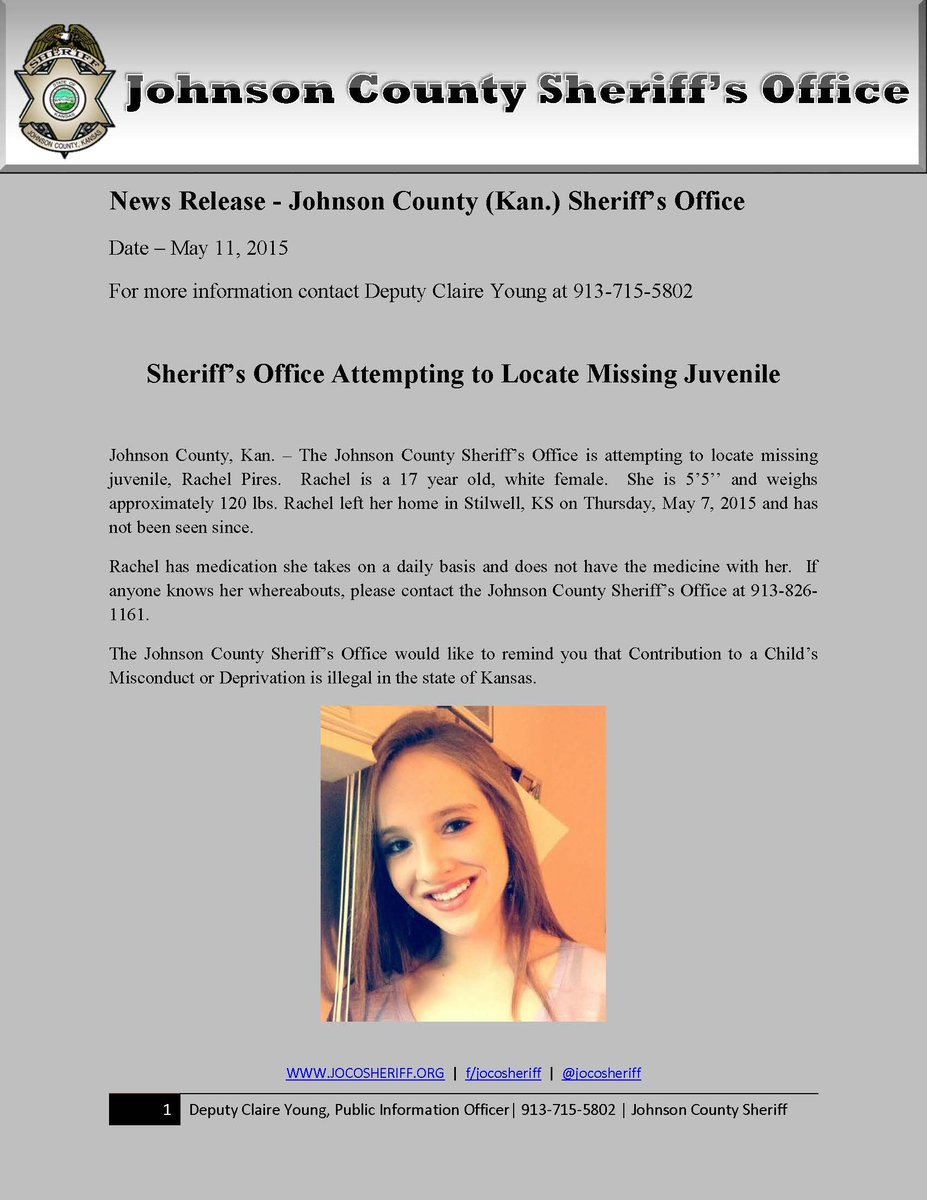 If you have any info on the whereabouts of missing juvenile Rachel Pires, please contact #JCSO at 913-826-1161. http://t.co/TGNPZe26qe