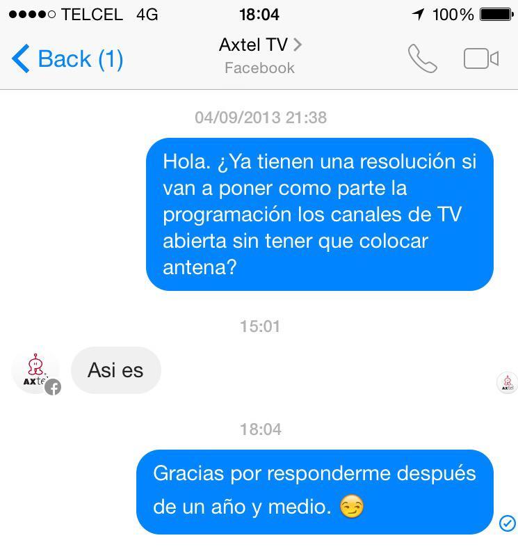 Gracias por su rápida respuesta. #Axtel